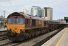 66086 6B04 Llanwern - Margam through Cardiff Central with 1 steel coil in a BLA 20.05.11