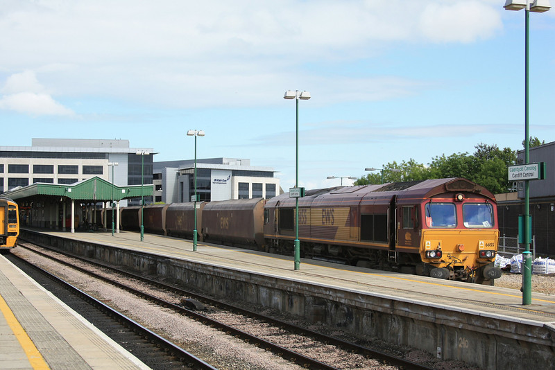 66155 on loaded HTA coal hoppers through Cardiff Central with a UID working to Aberthaw P.S 20.05.11