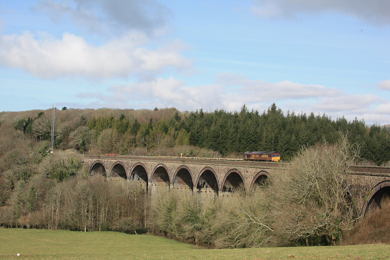 Blatchford Viaduct with 66109 on the head of a rake of Salmons awaiting unloading 11.03.12