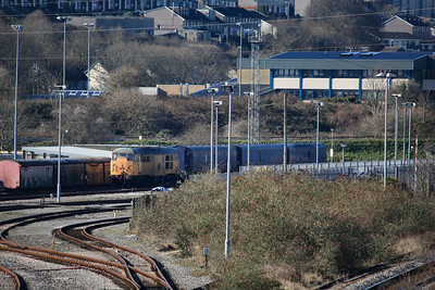 A rather dead 31105 with wheelset problems dumped at Laira awaiting collection by road 18.02.13