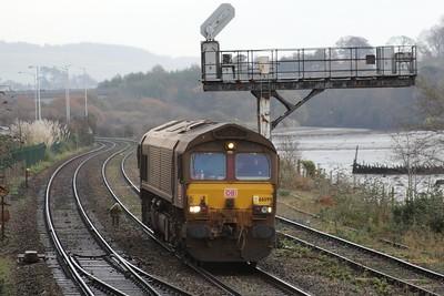 66099 0Z53 Exeter Riverside - St Blazey down through Laira Junction 05.12.14