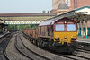 66041 rips through Newport down through road with 6V92 Corby - Margam with a complete rake of empty BZAs 27.09.13