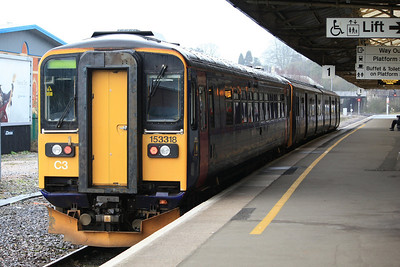 153318 + 150129 sat in Newton Abbot platform 1 working shuttles between Newton Abbot & Paignton 17.02.12
