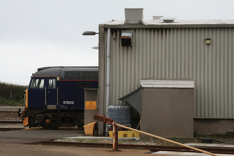 FGW bodysnatcher 57602 sticks its front out of the shed out while ticking over at Long Rock Depot 07.05.12