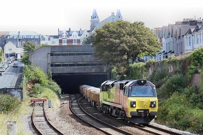 70809 6C25 Westbury - Par approaches Plymouth station 19.09.15