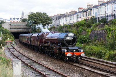 """6201 """"Princess Elizabeth"""" 1Z84 """"The Cathedrals Express"""" Exeter St Davids - Penzance emerges from Mutley Tunnel 17.09.16"""