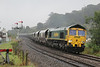 66566 6V22 Fiddlers Ferry P.S - Stoke Gifford down Pontrilas after being signal checked 26.09.13