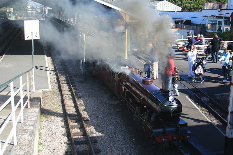 """Freelance outline two-cylinder 4-8-2 Mountain class locomotive """"Hercules"""" departing from New Romney Station 15.10.11"""