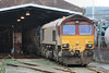 66006 + RHTT + 66199 stabled in the main shed 22.10.11