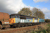 Having sat in Hemerdon Loop awaiting its path, 47375 + 56302 leave with 6Z23 Burngullow - Burto On Trent Wetmore Sidings 30.11.11