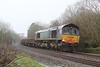 66413 6Y57 Tavistock Junction - Westbury slowly rolls out of Hemerdon Loop 21.02.16