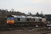66420 + 66425 6M67 Bridgeater - Crewe passes around the back of the station 16.02.11