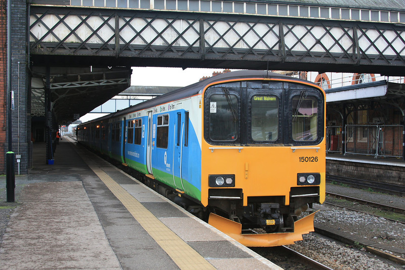 150126 + 150132 call with a Great Malvern train 16.02.11