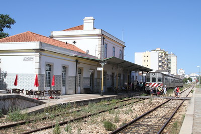 Portimao station as passengers cross for the Faro service