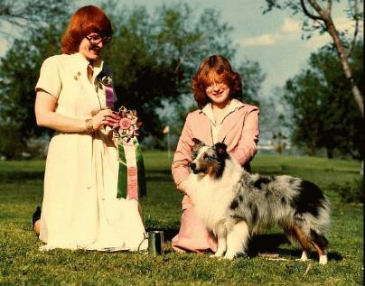 BEST JUNIOR HANDLER  -  ASSA National Specialty 1980<br /> Elizabeth Ruggles with CH. Babinette Buttermilk Sky<br /> judge - Charlotte McGowen