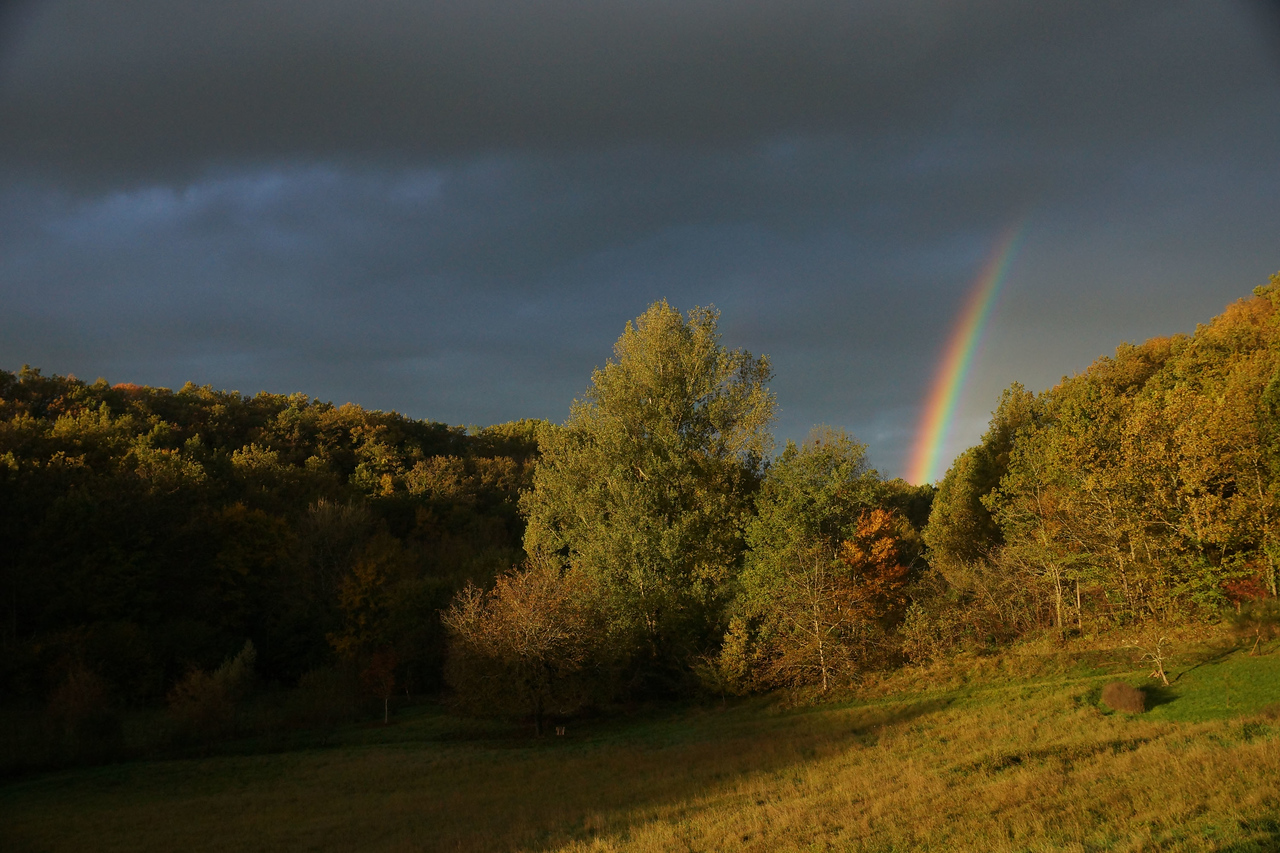 The complete development of a spectacular rainbow over 10 minutes