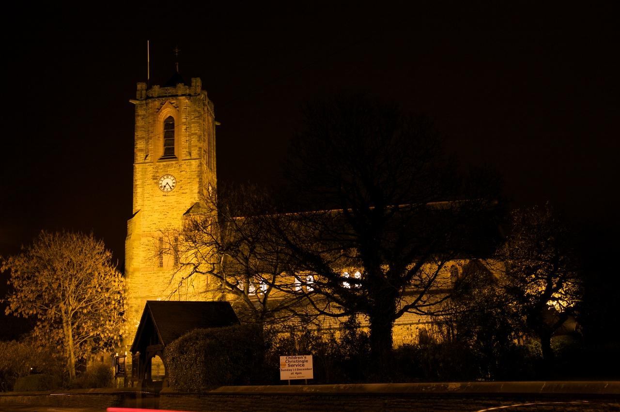 Rainford Church by night
