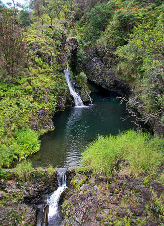 Hanawi Stream Falls -- The mouth of the stream empties into Waiohui Bay, just up the coast from the beach at Lower Nahiku, east Maui.