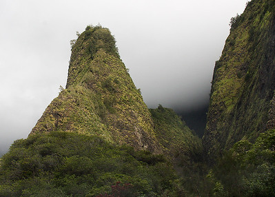 Closeup of the 'Iao Needle, showing the heavy rainforest vegetation growing on the steep faces of the basalt pinnacle.
