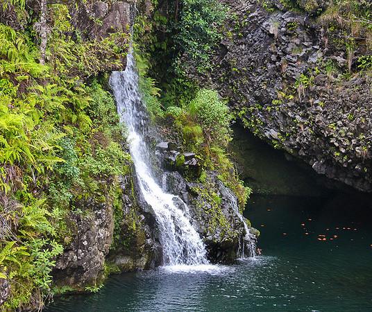 Close-up of the Hanawi Stream waterfall and pond, near Nahiku on the Hana HIghway, east Maui.