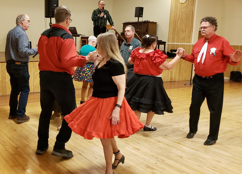Feb. 22, 2020; square dancers having fun!