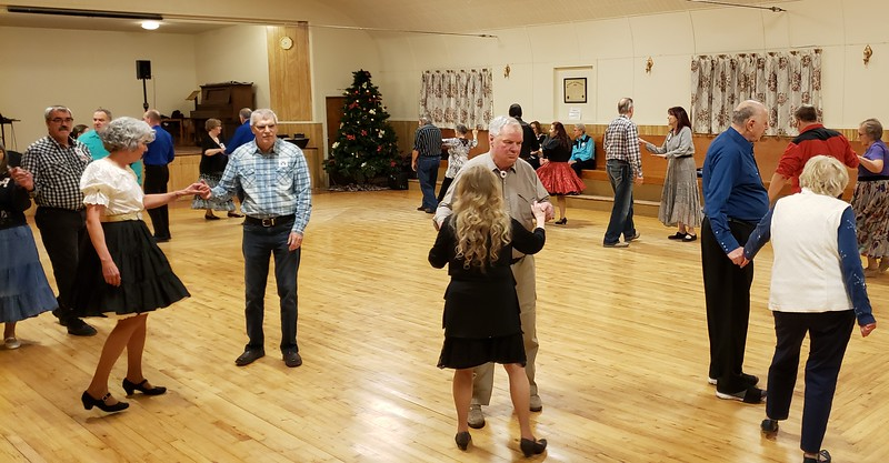 Jan. 11, 2020; round dancing (choreographed ballroom dancing).  At our dances, we alternate a pair of square dance songs/patters with a pair of round dance songs.
