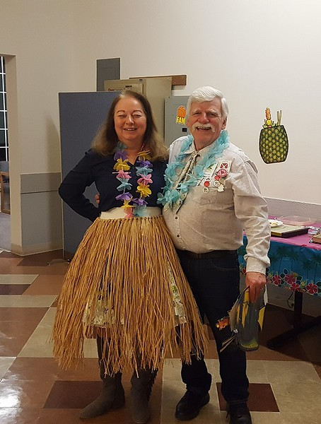 Heidi Lusk (with Greg) modeling next years Tropical Dance attire
