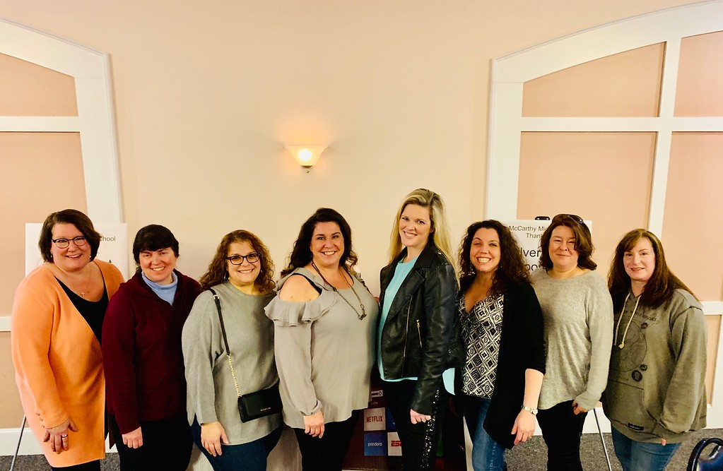 . McCarthy�s PTO glamour squad, from left, Patti O�Brien, Theresa Evans, Georgia Fredericks, co-Chairs Amy Hart and Liz Goguen, Deb Smith, Deb LeBlanc and Betsy Hebert, all of Chelmsford