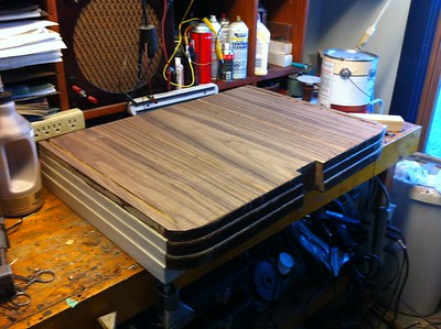 Right out of the press, walnut veneer, rough trimming no sanding