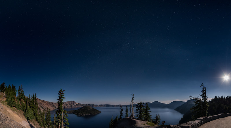 Crater Lake under the Moon Light