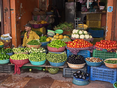 Vegetable stall, Hawa Mahal bazaar, Jaipur