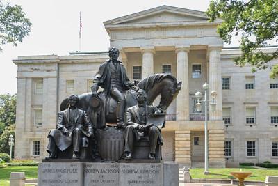 Capital Building Raleigh NC, statue, horse, James Knox Polk, Andrew Jackson, Andrew Johnson