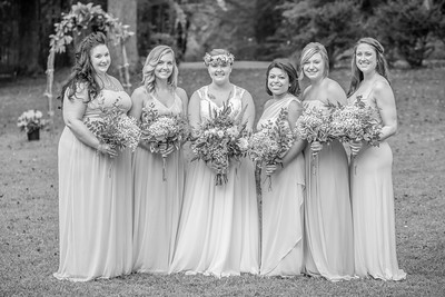 Bridal Party in Black and White