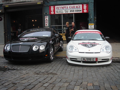 The Bentley and GT3 sit outside the garage across the street from the hotel.