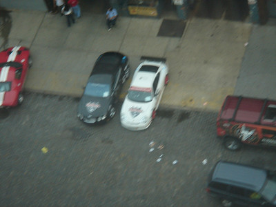 An aerial view of the GT3 and the Bentley.