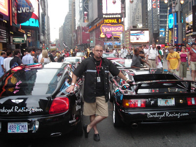 Robb serene amid the chaos that is Times Square.