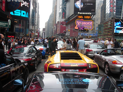 People and cars and the craziness of Times Square.