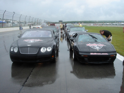 The rain finally stopped, and we did a parade lap for the very drunk Nascar fans.