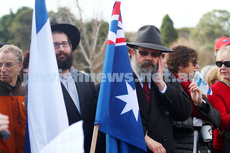 20-7-14. Israel solidarity rally, Princes Park, Caulfield. More than 1500 people gathered to support Israel in their fight against the constant rocket attacks by Hamas.  Photo: Peter Haskin