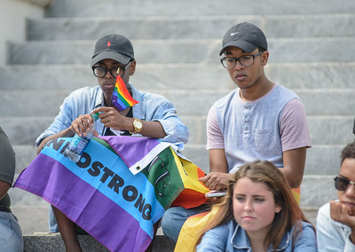 Members of the LGBT Community along with Rep. Alan Williams (D) rally at the Florida State Capital in Tallahassee, FL