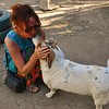 Lorraine Chittock kisses one of her favorite little doggies at our second home for the shoot at Karen Camp in Nairobi.