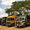 The adventure tour buses line up for the overlanders who stay at Karen Camp in Nairobi.