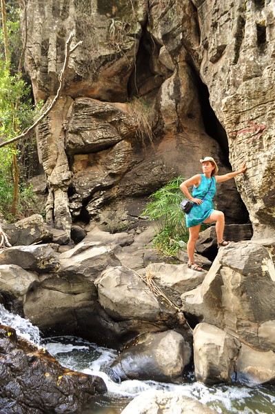 Lorraine Chittock leads the way as we explore the gorge not far from our home for the week in Kitengela.