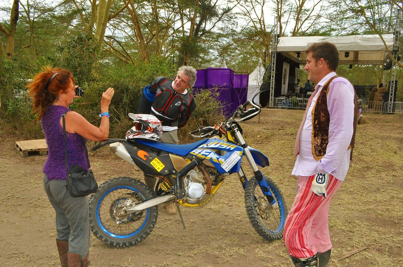 Lorraine films the riders at Soysambu Wild Festival supporting wildlife and peace.