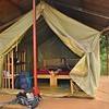 "Tiffany enjoys our ""glamping"" experience at the Nile River Camp in beautiful Uganda."