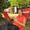 A fresh coconut break at Karen Camp.