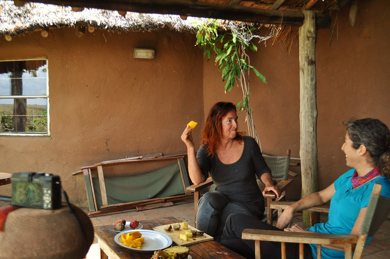 Lorraine and I enjoy Kenyan fruit in front of the cameras on the veranda of this very special home at the edge of the Nairobi National Park.