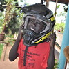 Precious 6 yr old Sampson enjoyed wearing my moto gear as his mother and he live right next to the beautiful home where we are staying in Kampala, Uganda.