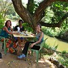 Lorraine Chittock treats Elizabeth and I to a wonderful lunch by the river at the Masai Lodge Restaurant right next door to our Kitengela home for my first week in Kenya.