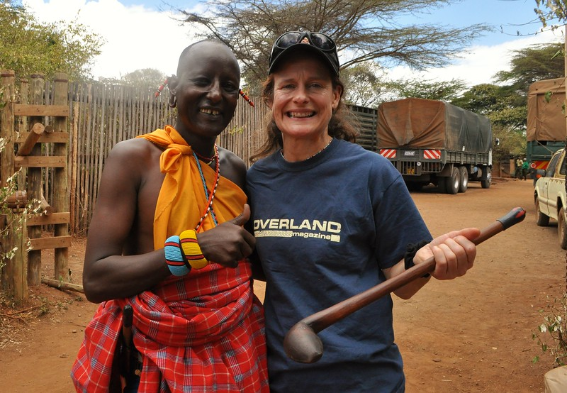 Tiffany poses with Masai warrior at the Elephant Orphanage at Sheldrick Wildlife Foundation.